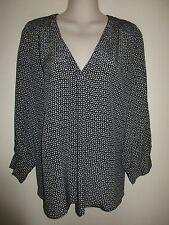 JOIE $268,- NWOT 'Aceline' Navy Multi 100% Silk Tunic Top, 3/4 Sleeve, V-Neck, S