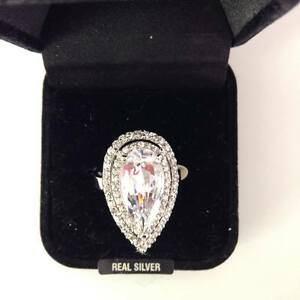 """STUNNING STERLING SILVER CLEAR CUBIC ZIRCONIA R/P RING SIZE""""R/S"""""""