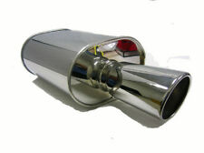 """OBX  3"""" Inlet Universal Oval Muffler With Flared Rolled Slant Cut Tip HR08"""