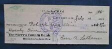 1921 Lake Valley New Mexico C A Latham Sheep & Cattle Co Bank Check Ghost Town