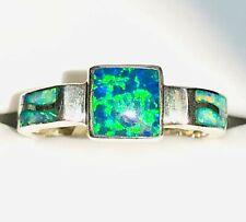 Iridescent Black Blue SQUARE Fire Opal  Ladies Ring 8 David Freeland Vintage