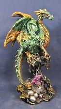 Dragon on Stone Pillar Guarding Hatchling Green mythical figurine (D)