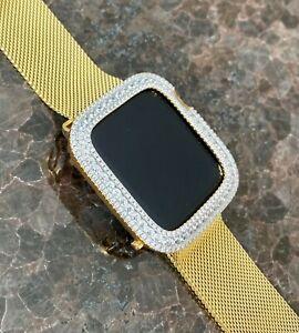 EMJ Series 4/5/6/SE Bling Apple Watch Bezel Face Case Cover Zirconia Gold 44mm