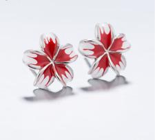 925 Sterlingsilber Ohrstecker Ohrringe Kirschblüte Blume Blüte Silber Rot Boho