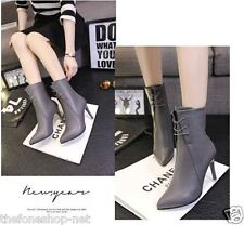 Closed Pointed High Heel Shoes Boots With Backside Zipper For Women/Girls - 38