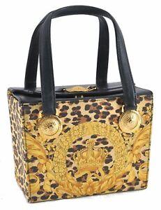 Auth GIANNI VERSACE Sunburst Flower Leopard PVC Leather Hand Bag Yellow D5687
