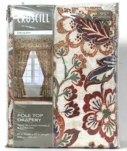 Croscill Delilah 82 In X 95 In Spice Pole Top Drapery 2 Lined Panels & Tiebacks