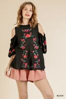 Umgee Black Floral Embroidered Cold Shoulder Puff Sleeve Top