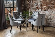 Capri Luxury Glass Dining Table Set + 4 Knocker French Velvet Chairs Chrome