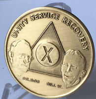 AA Alcoholics Anonymous 10 Year Founders Bronze Medallion Chip Bill W Dr Bob