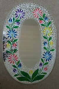 Superb Hand Crafted Mosaic Mirror With Flowers 60 x 40 Cm Wide