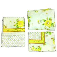Vintage Lawtex Floral Twin Sheets Set Flat Fitted and Pillowcase Percale
