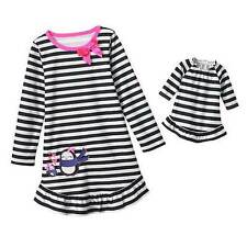 NWT Girls Fleece Nightgown Size 5 Winter Pjs Pajamas Doll Gown Penguin Pink NEW