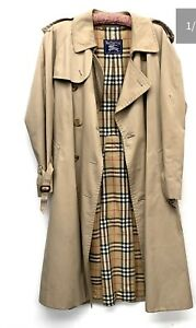 """Vintage Burberry's double breasted raincoat with nova check lining, 48"""" chest"""