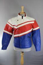VINTAGE 80's BRITISH MADE BLUE, WHITE & RED SCOTT LEATHER BIKER JACKET 36-38 IN