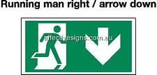Running Man Arrow Down Sign Safety Signs Australian Made Quality Printed Sign