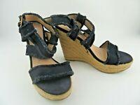 Steve Madden Fraid Womens Size US 6.5M Black Denim Ankle Strap Wedge Heel Shoes