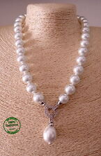 Collana di Perle da Donna Estiva Resina Color Bianco Perla Elegante Moda Mare