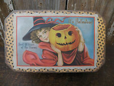 Vintage Look Tin Food Safe Holiday Fall Halloween Tin Canister Container Can