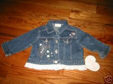 HSG4 NWT 4T 4 Hartstrings Flower Girls Blue Denim Floral Jacket Coat