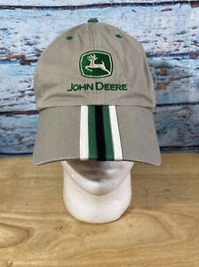 Mens JOHN DEERE Hat Cap Adjustable Tan And Green
