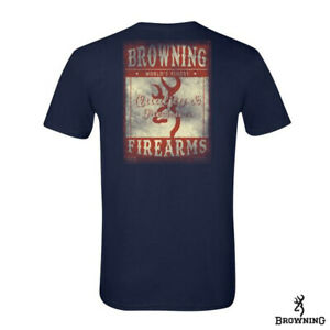 Browning Oil Can Men's LARGE Cotton S/S Tee Shirt Navy Blue NEW