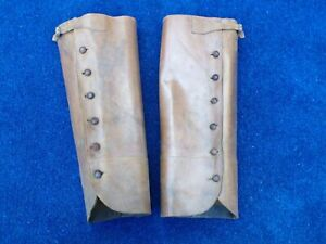 British Army Officers WW1 Leather Leggings / Gaiters worn above ankle boots.