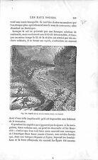 Rapide Rivière Montmorency River Québec Canada  GRAVURE ANTIQUE PRINT 1874