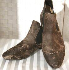 THINK Damen Stiefelette Boots LEDER Braun Gr. 42 Gummizug Echtleder Einlagen