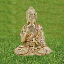 Deko Thai Buddha Figur sitzend in Gold Höhe 20 cm Feng Shui Statue