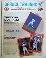 St Louis Cardinals Baltimore Oriole Spring Training program 1993 roster schedule