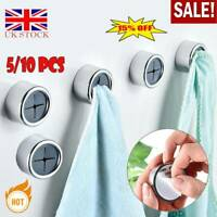 10 Push In Tea Towel Holder Grip Hook CHROME Self Adhesive Kitchen Cloth Clip