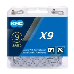 KMC X9 Ept 9 Cadena Velocidad Anti Óxido Plata 114 Eslabones