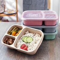 3 Compartments Lunch Box Plastic Food Container Storage Boxes Microwave Healthy