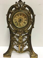 Antique Western Clock Mfg. Cherub Art Nouveau Metal Mantle Clock