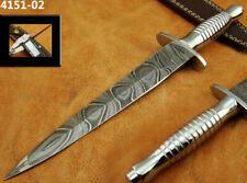 HANDMADE DAMASCUS STEEL BRITISH COMMANDO TACTICAL HUNTING DAGGER KNIFE (4151-2