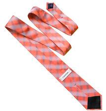 CALVIN KLEIN Classic Mens Woven Stripe Silk Necktie Work Tie Salmon Pink RRP £70