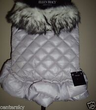 New Ellen Tracy Luxury Pet Dog Faux Fur Collar Quilted Jacket Coat Silver Large