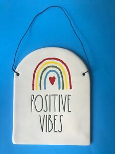 RAE DUNN Positive VIBES Collectible Ceramic Plaque Rainbow Heart Hanging Sign