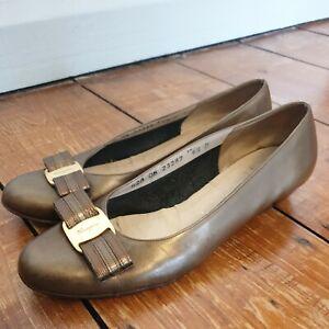 Salvatore Ferragamo Ladies Leather Pumps Shoes UK 4 Bronze