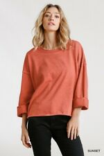 Umgee Sunset Mineral Washed French Terry Long Sleeve Slouchy Top Plus Size