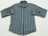 Airwalk Dress Shirt XL Long Sleeve Gray White Blue Two Pocket Cotton Polyester