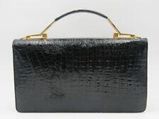 Vintage Women's Black Crocodile Skin Evening Handbag