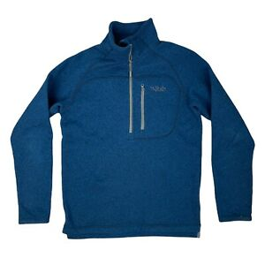 Rab Men's Fleece Mid Layer Small Blue Good Condition 1/4 Zip Chest Pocket