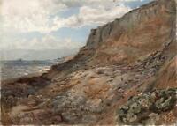 COASTAL CLIFFS LANDSCAPE Victorian Watercolour Painting c1880 SEASIDE