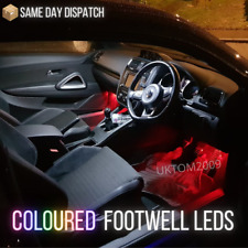 VW SCIROCCO BRIGHT LED COLOURED FOOTWELL BULBS - GREEN BLUE PINK AMBER
