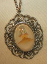 Lovely Lacy Scallop Silvertn Our Lady Blessing Hills Bethlehem Medal Necklace