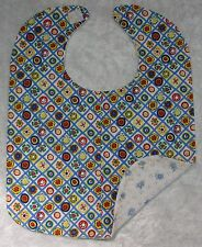BABY BIB ~ NEW Handmade Baby Girl, Cotton and Flannel Back #07 Rerto Flowers