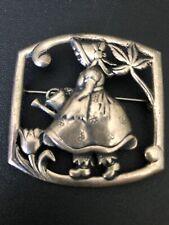 Vintage Sterling Silver Brooch Pin Girl Watering Flower Bonnet Apron Christmas