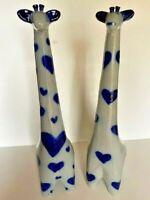 "David Eldreth Salt Glazed Pottery Giraffes Signed 1993 1995 Vintage 18"""